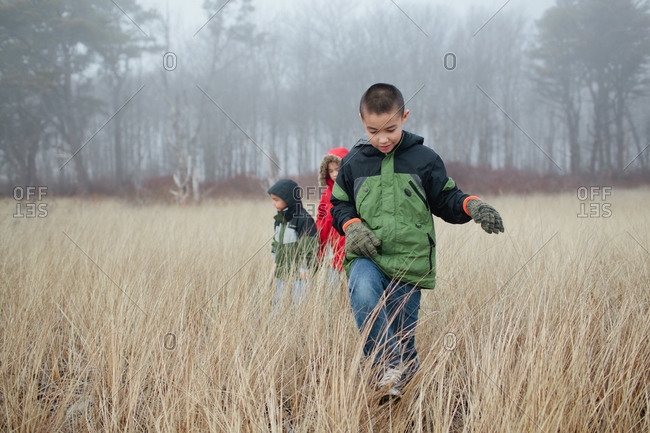 Three young children exploring a field of long grass on a foggy day