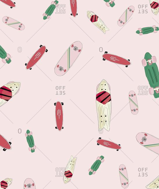 Illustration of several different skateboards