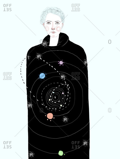 Woman wearing a cloak of the universe