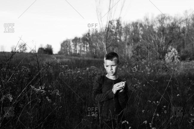 Portrait of a young boy standing in tall grass