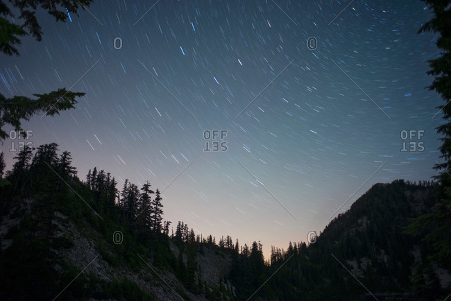 Star trails in the evening sky