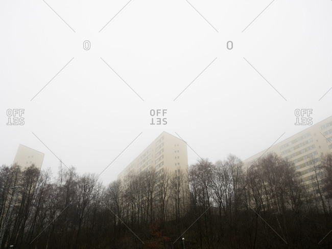 Apartment buildings in the fog