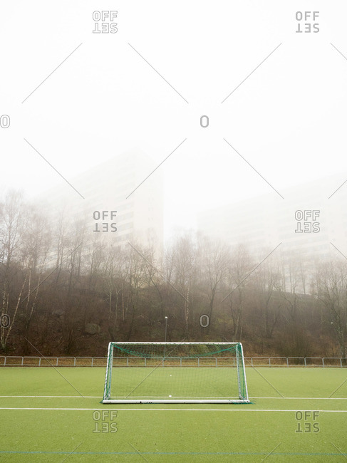 A soccer goal in the fog