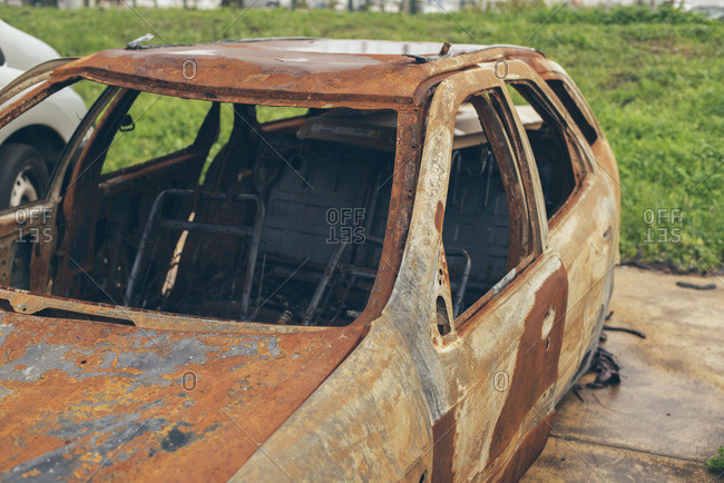 Close-up of a burnt out car