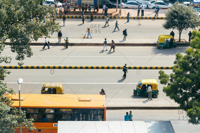 New Delhi, India - February 27, 2013: Elevated view of streets, vehicles and people in New Delhi, India
