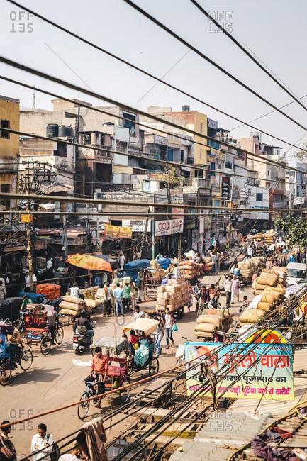 New Delhi, India - March 5, 2014: Busy street market in New Delhi