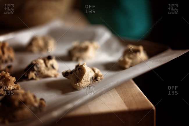 Cookie dough on a baking sheet