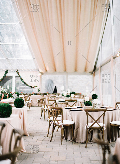 Tables decorated for a wedding reception