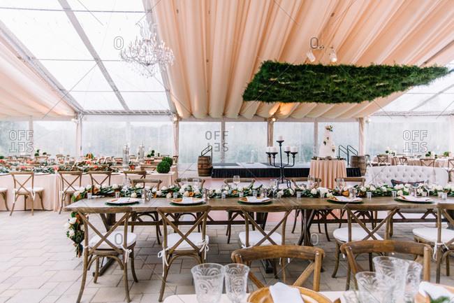 Hall set for a wedding reception
