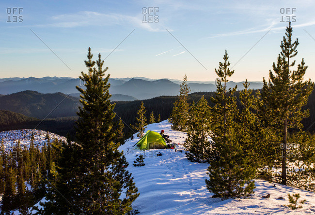 Camper and tent on Mount St. Helens in the winter