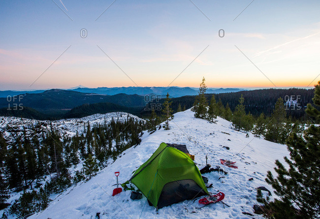 Camping tent on Mount St. Helens in the winter