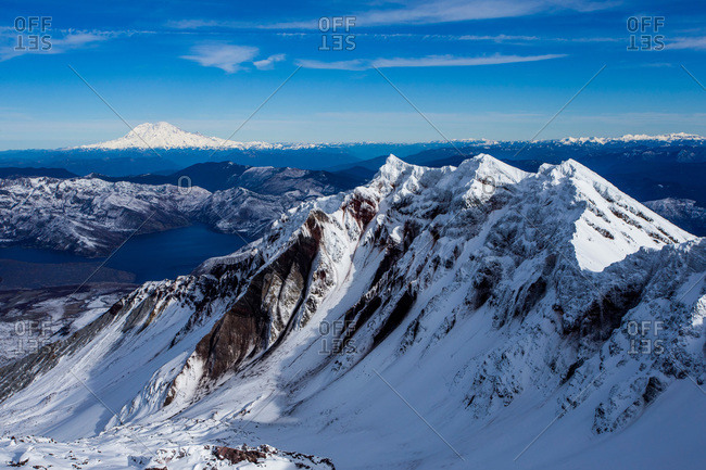 Views of the Cascades from the summit of Mount St. Helens in Washington