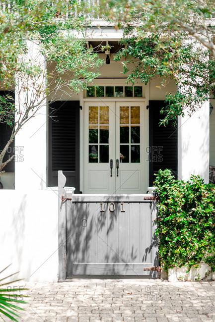 Gated entrance to a quaint villa