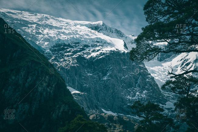 Mountain range and glacier with snow at Wanaka, New Zealand