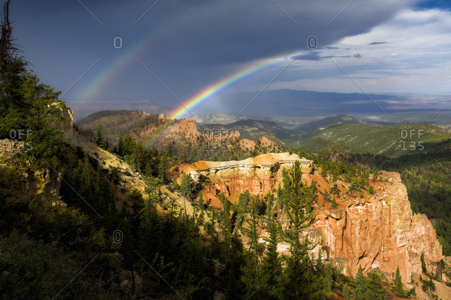 Double rainbow in Bryce Canyon National Park