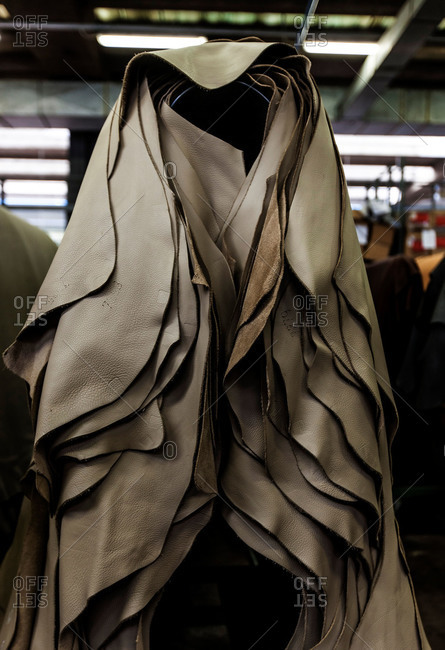 Leather pieces in Italian factory