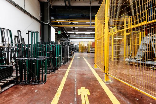 Walkway in furniture factory warehouse