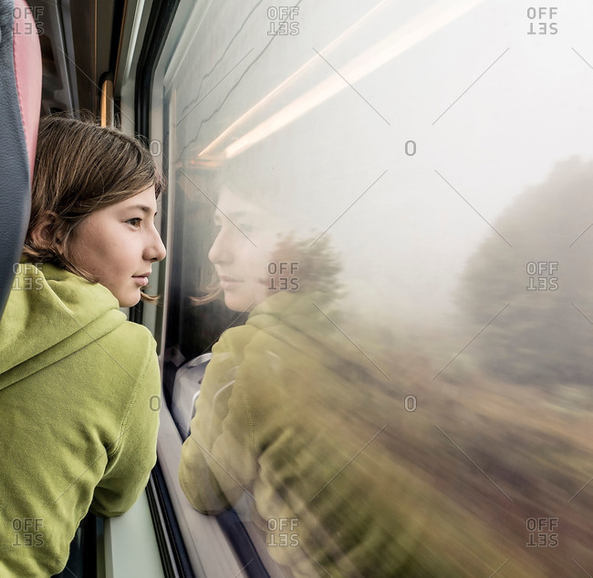 Girl on train in Italy