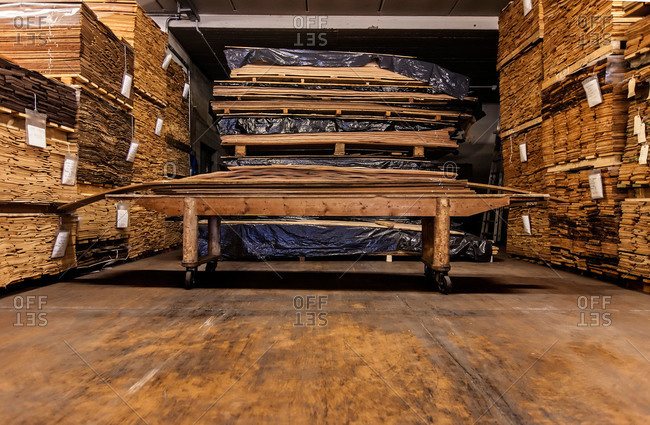 Lumber in furniture factory