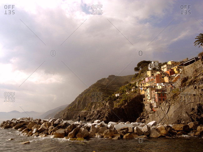 Houses on cliffside, Cinque Terre, Italy