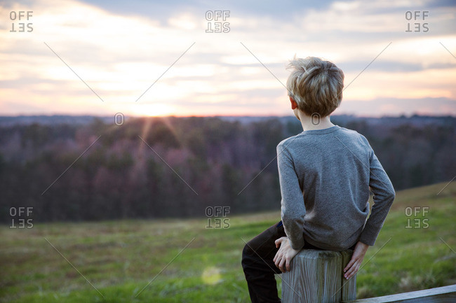 Boy on fence with country view, Raleigh