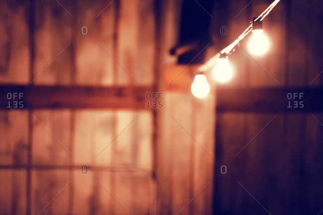 Light bulbs in shed interior, San Antonio