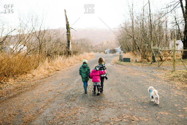 Siblings walk down a dirt road with their dog