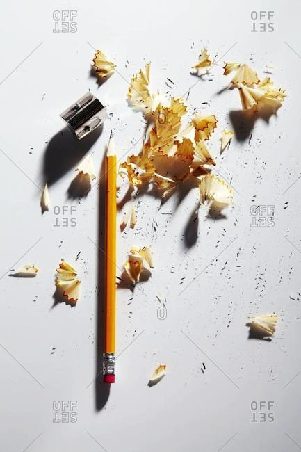 Pencil with sharpener and shavings