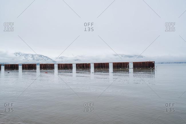 Metal wall in coastal waters