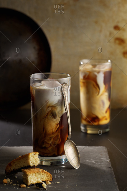 Swirling iced coffee with bread