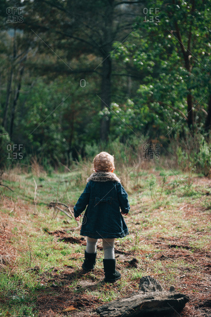 Toddler walking towards a forest