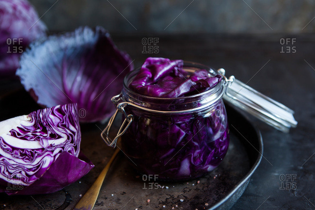 Red cabbage in a jar