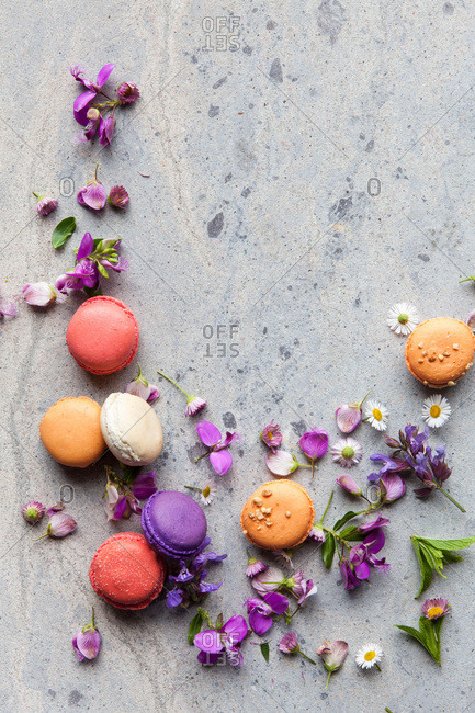 Macarons and flower petals