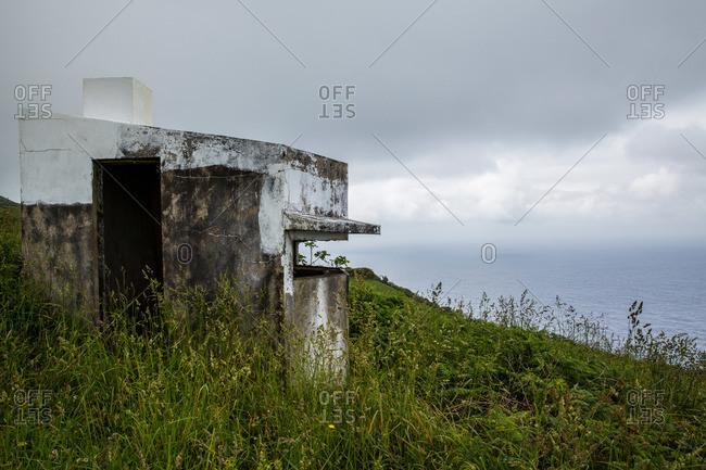 Old whale watching cabin on Corvo Island, Portugal