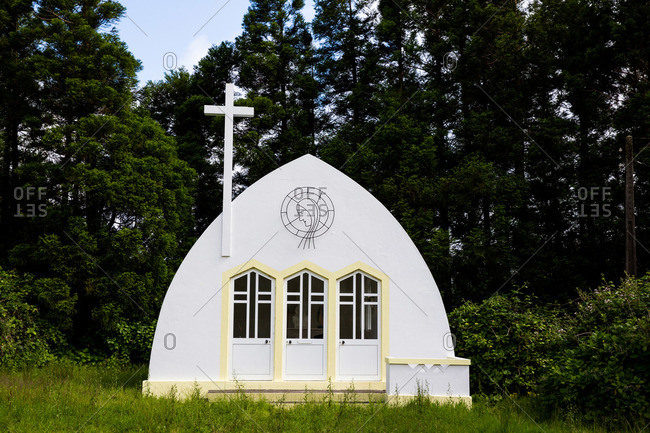 Small chapel in the woods of Flores Island, Portugal