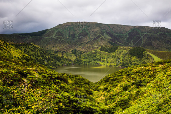 Lagoa Funda lake in a crater on Flores Island, Portugal