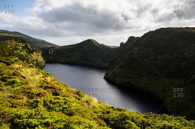 Caldeira Comprida crater lake on Flores Island, Portugal