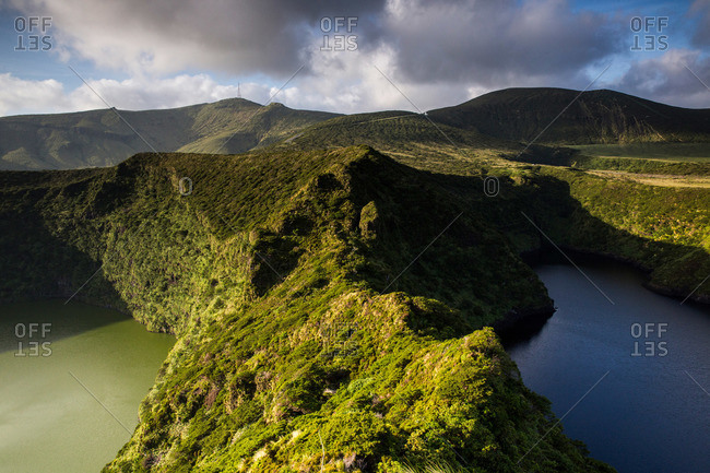 Caldeira Comprida and Caldeira Negra, crater lakes side by side on Flores Island, Portugal