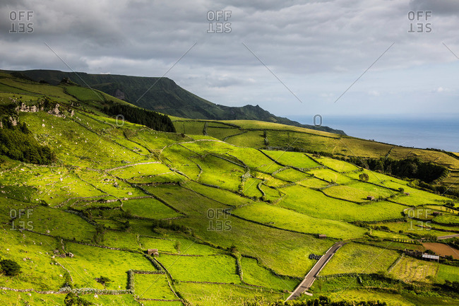 Patchwork of green fields on a coastal hill, Flores Island, Portugal