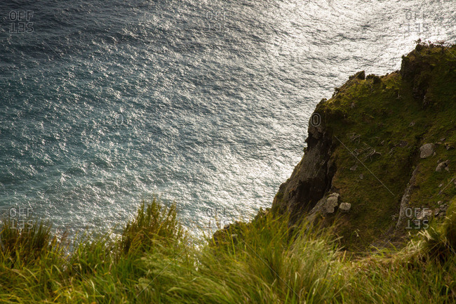 Cara do Indio cliff and ocean from above, Corvo Island, Portugal