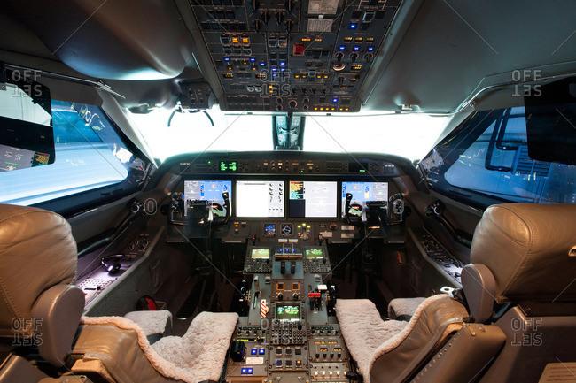 Cockpit of a private jetliner