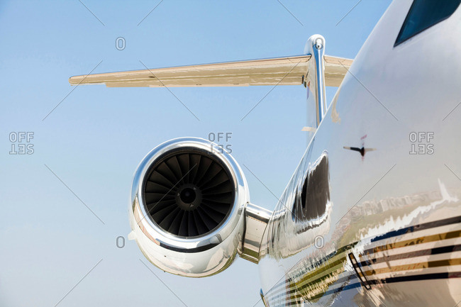 Motor and wing of a private jetliner