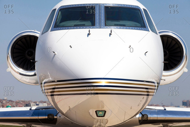 Nose and engines of a private jetliner