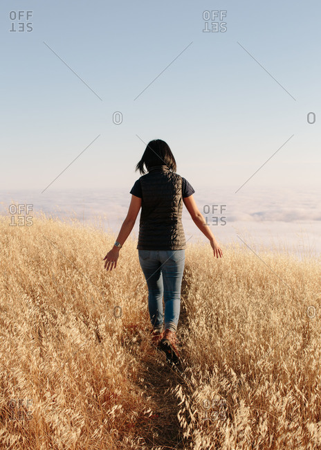 Woman hiking at Mount Tamalpais State Park in California