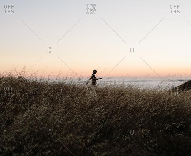 Woman walking at Mount Tamalpais State Park in California