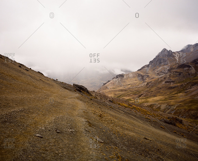 Hikers at Ausangate in the Andes Mountains of Peru
