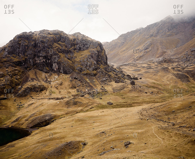Misty terrain at Ausangate in the Andes Mountains of Peru