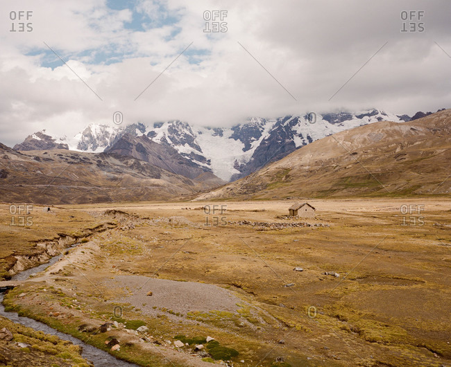 Farm in a valley in Ausangate in the Andes Mountains of Peru
