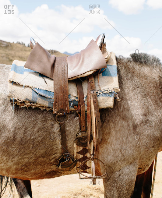 Saddle on a horse in the Andes Mountains of Peru