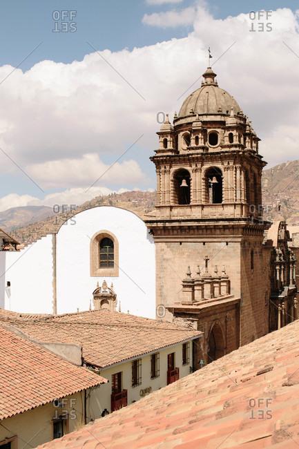 Church bells and tower in Cusco, Peru